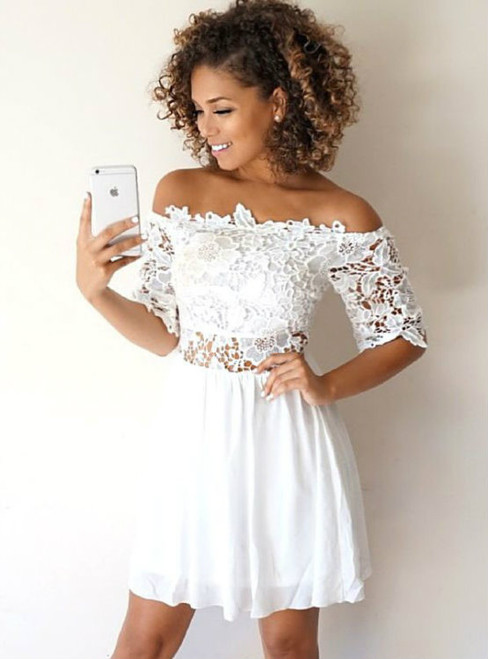 Cheap Little White Chiffon Off Shoulder Homecoming Dresses