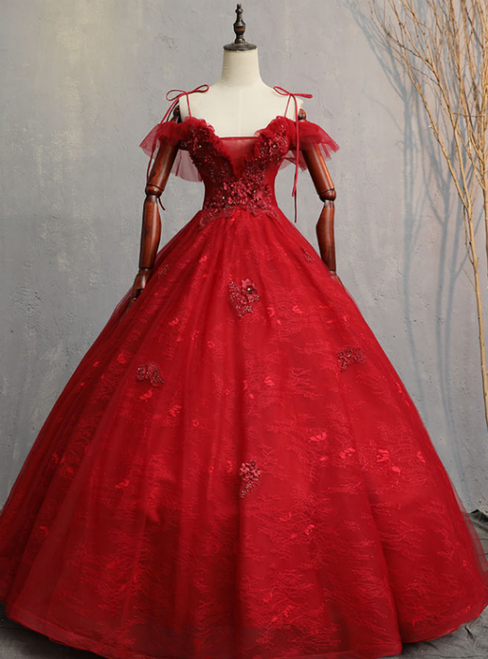 Shops Around The World Burgundy Ball Gown Tulle Lace Spagehtti Straps Appliques Quinceanera Dress
