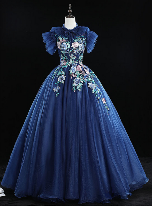 Check Out Entire Collection Navy Blue Ball Gown Tulle Embrodiery Backless Quinceanera Dress