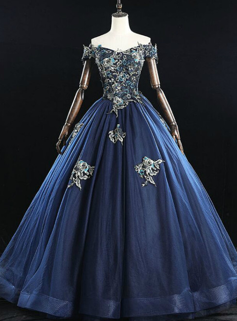For This Year's Biggest Dance Navy Blue Ball Gown Tulle Embroidery Beading Quinceanera Dress