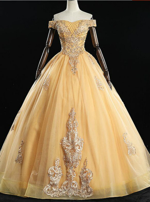 Get Your Discounts Gold Ball Gown Tulle Appliques Beading Off the Shoulder Quinceanera Dress