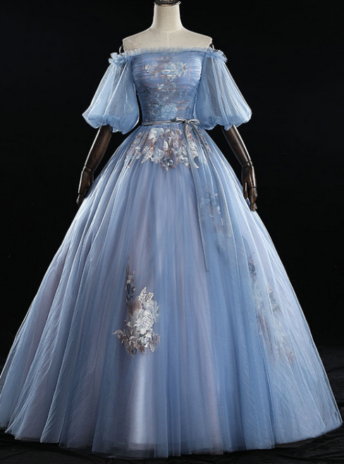 Discover The Latest Gray Blue Ball Gown Tulle Puff Sleeve Appliques Quinceanera Dress