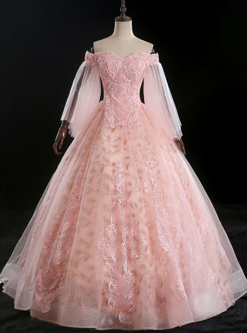 You Are Sure To Find The Perfect Pink Ball Tulle Sequins Off the Shoulder Appliques Quinceanera Dress
