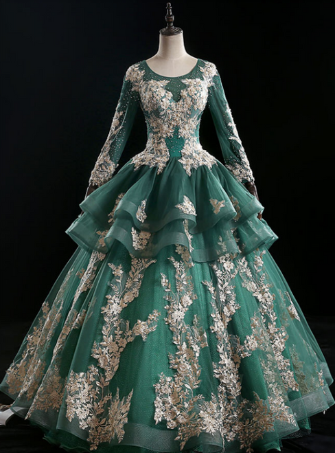 The Worldwide Shipping Online Store Dark Green Ball Gown Tulle Long Sleeve Appliques Quinceanera Dress