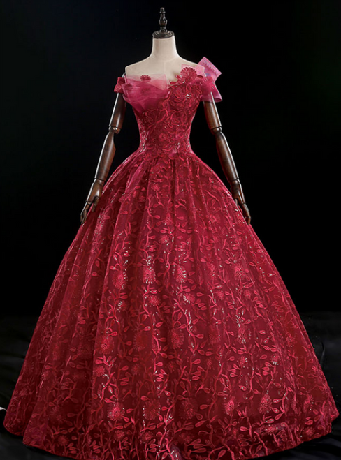At Great Prices Burgundy Ball Gown Lace Sequins Off the Shoulder Quinceanera Dress