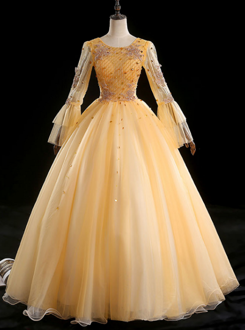 For Your Big Night Gold Ball Gown Tulle Long Sleeve Beading Quinceanera Dress