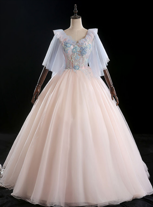 Available In Sizes 0-24 Pink Ball Gown Tulle Appliques V-neck Quinceanera Dress