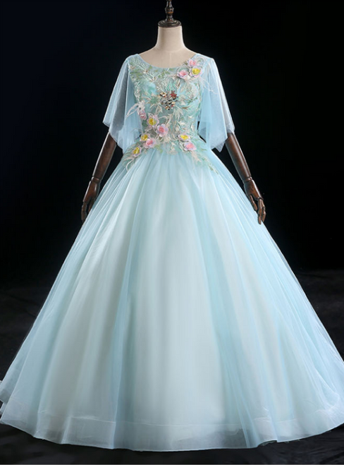 Find Your Dress For Prom! Light Blue Ball Gown Tulle Short Sleeve Appliques Quinceanera Dress
