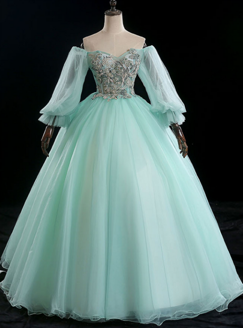 Best For You Light Green Ball Gown Tulle Off the Shoulder Long Sleeve Quinceanera Dress