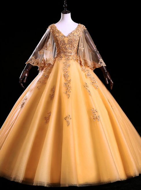 Is Now Available. Gold Ball Gown Tulle Appliques V-neck Long Sleeve Beading Quinceanera Dress
