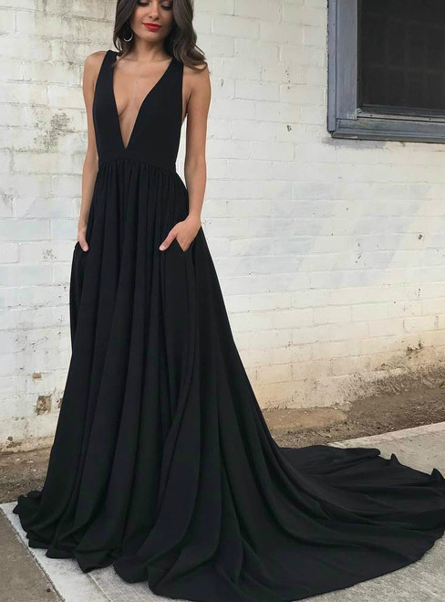 Sexy Deep-V Neck Evening Dress with Open Back and Pockets