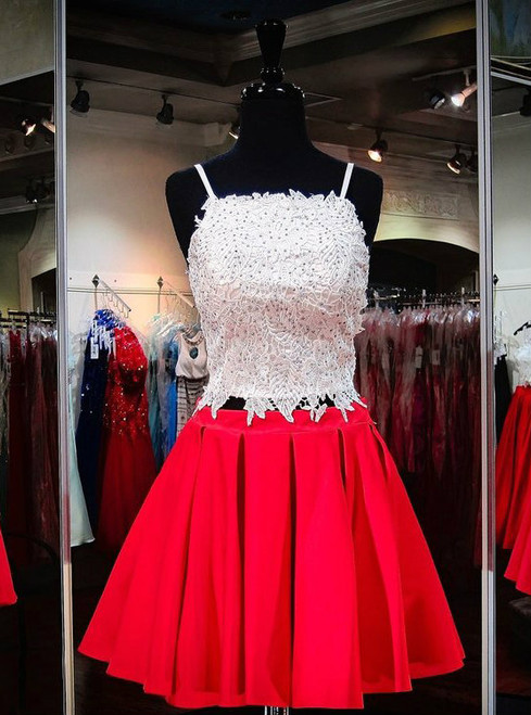 Sexy Spaghetti Strap Red Satin White Lace Homecoming Dresses