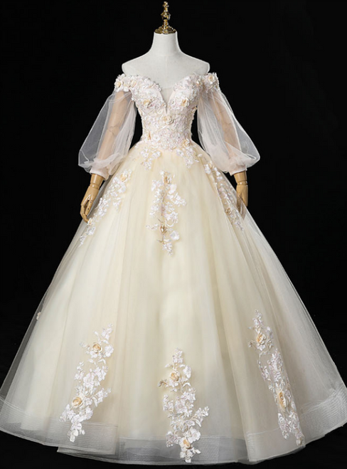 To Choose From Champagne Ball Gown Tulle Off the Shoulder Appliques Long Sleeve Quinceanera Dress