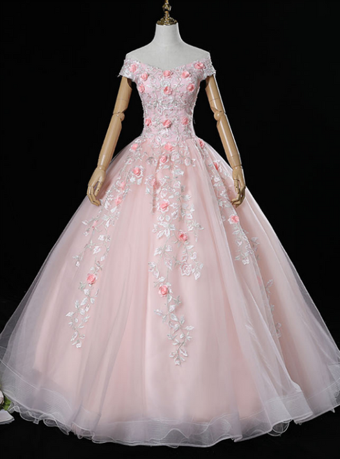 Is a Rite Of Passage Pink Ball Gown Tulle Off the Shoulder 3D Appliques Quinceanera Dresses