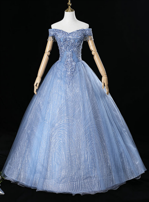 For The Very Best In Unique Or Custom. Blue Ball Gown Tulle Sequins Off the Shoulder Beading Quinceanera Dresses