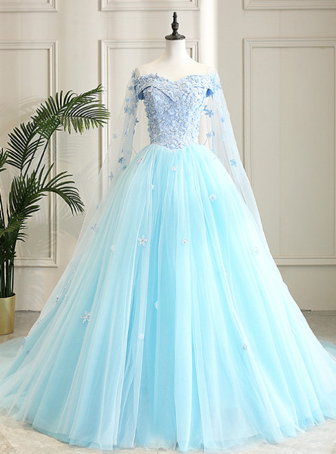 Fit Your Fashion Sense Light Blue Ball Gown Tulle Off the Shoulder Appliques Quinceanera Dress