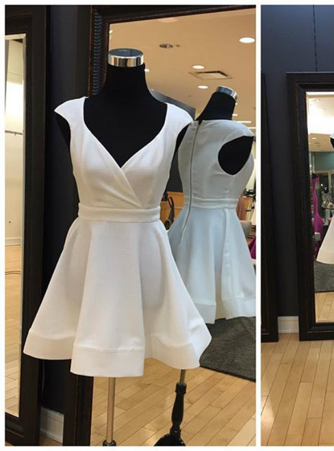 Simple Short White Homecoming Dress with Cap Sleeves