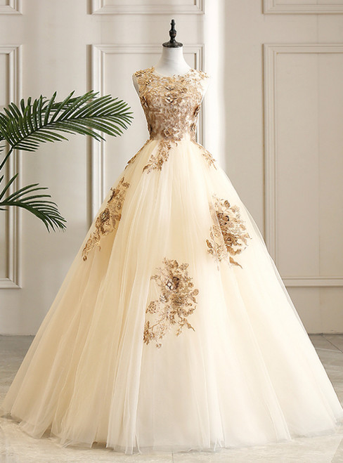 Come In a Wide Variety Of On-Trend Styles, Champagen Ball Gown Tulle Appliques Beading Quinceanera Dress