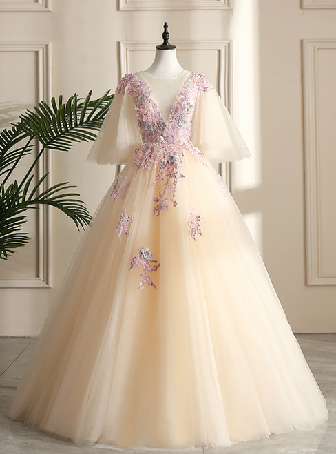 Come In All Styles And Colors Champagne Ball Gown Tulle Appliques See Through V-neck Quinceanera Dress