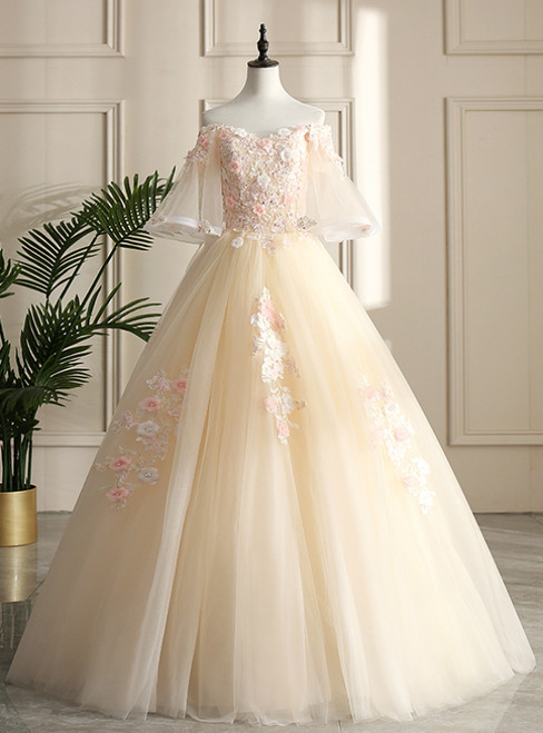 For You Next Prom Dance Champagne Ball Gown Tulle Off the Shoulder Horn Sleeve Quinceanera Dress