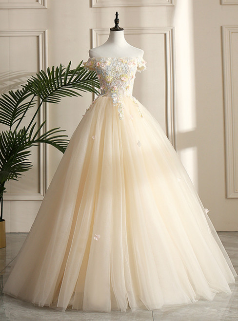 With 28 Colors Available. Champagne Ball Gown Tulle Off the Shoulder Appliques Beading Quinceanera Dress