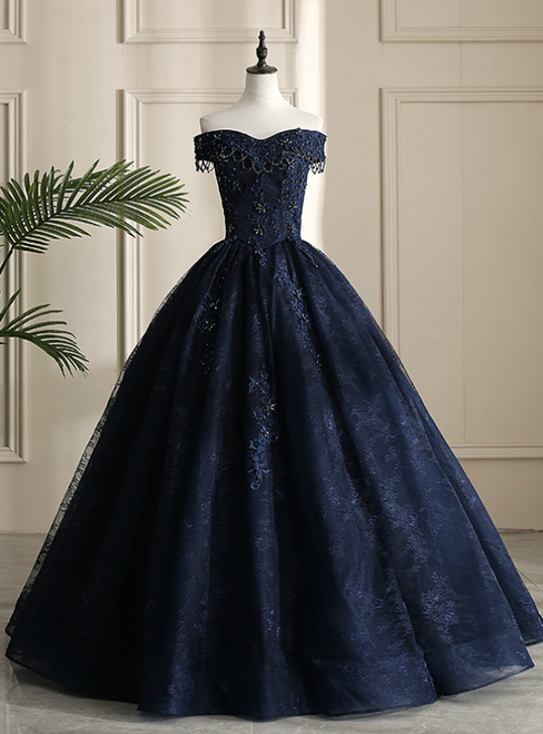 Looking For Cute And Stylish Navy Blue Ball Gown Tulle Lace Off the Shoulder Beading Quinceanera Dress