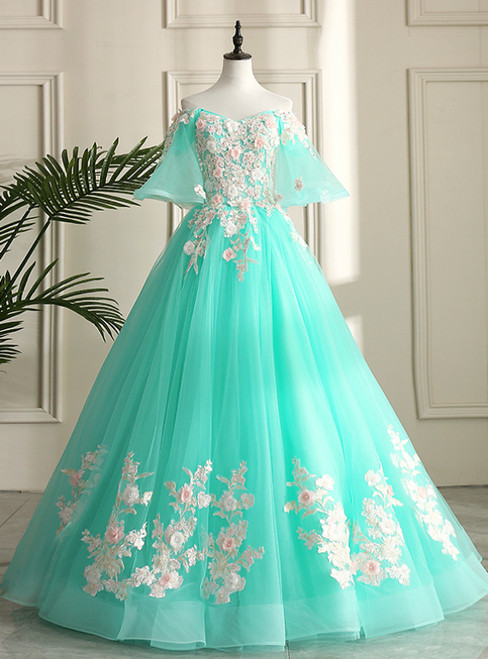 Shop For The Perfect Blue Ball Gown Tulle Appliques Off the Shoulder Appliques Quinceanera Dress