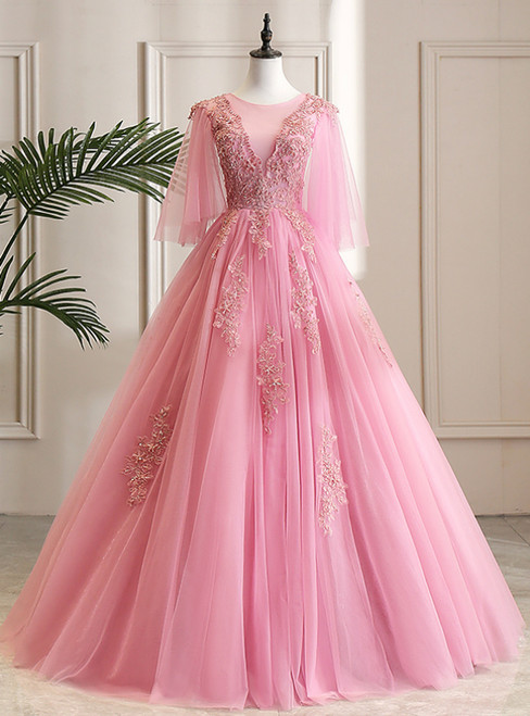Shop Online Pink Ball Gown Tulle Appliques Beading Short Sleeve Quinceanera Dress