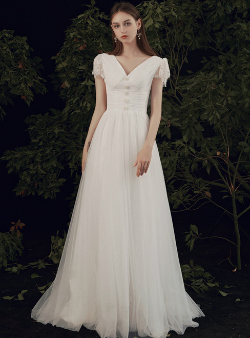 Free Shipping A-Line White Tulle Lace Cap Sleeve V-neck Pleats Wedding Dress
