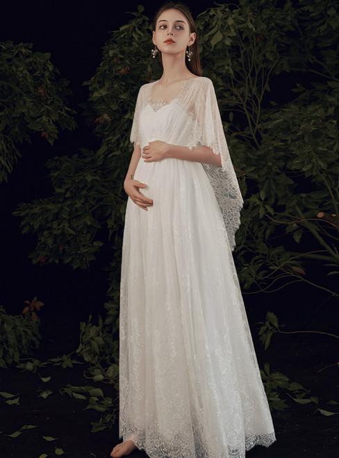 You'Ll Want A-Line White High Waist Pregnant Sweetheart Wedding Dress