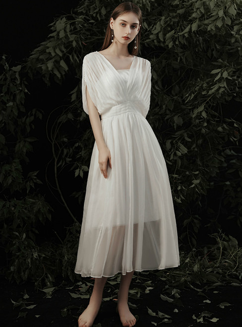 2020 Great Choice A-Line White Chiffon V-neck Pleats Tea Length Wedding Dress