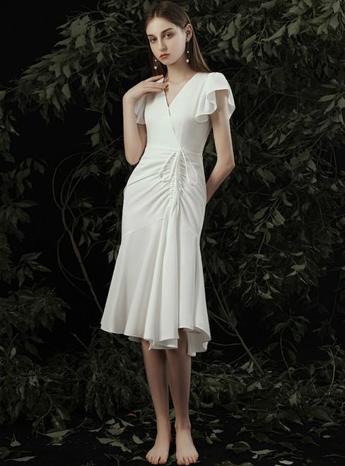 Biggest Sale White Sheath V-neck Pleats V-neck Short Wedding Dress