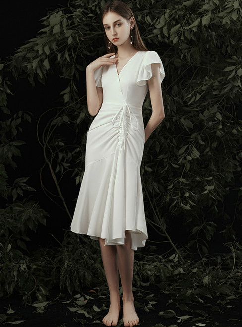 Biggest Sale White Sheath V-neck Pleats V-neck Short Wedding Dress