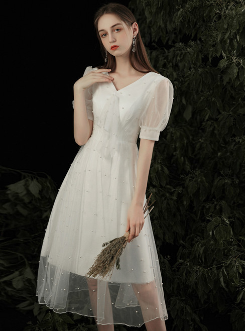 100% Custom Made A-Line White V-neck Short Sleeve V-neck Pearls Wedding Dress