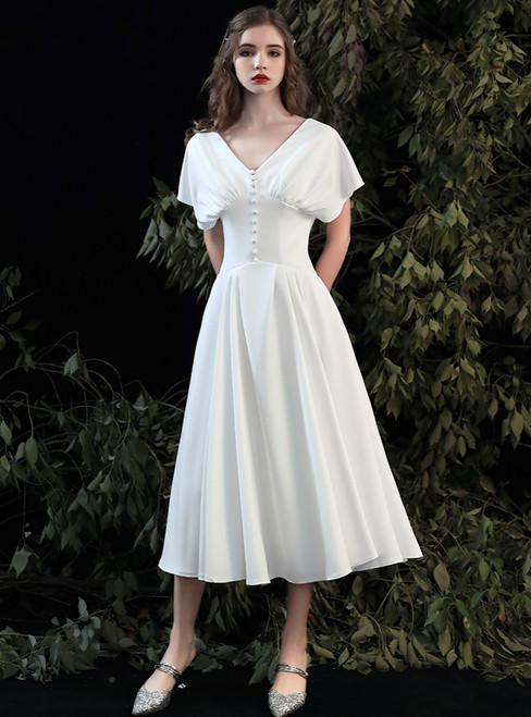 All Sizes A-Line White Satin V-neck Tea Length Wedding Dress