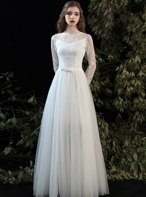 Custom Tailored A-Line White Lace Long Sleeve Wedding Dress With Bow