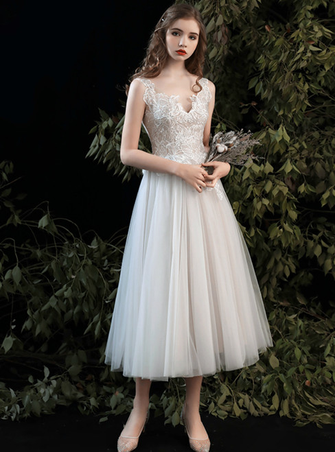High Quality Champagne Tulle V-neck Appliques Tea Length Wedding Dress