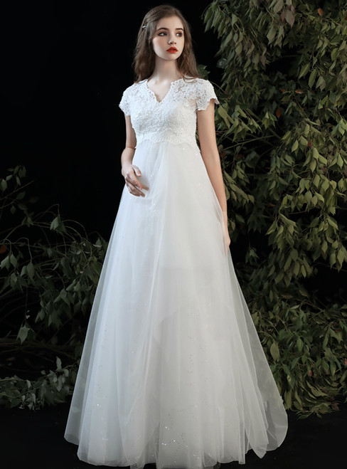 Buy More, Save More White Tulle Lace High Waist V-neck Cap Sleeve Wedding Dress