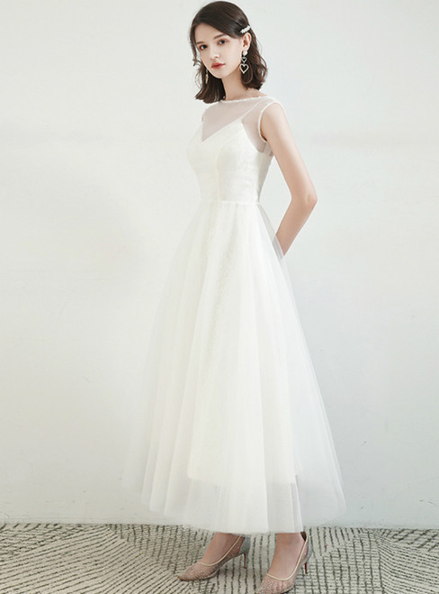 Largest White Tulle Lace Two Piece Pearls Ankle Length Wedding Dress
