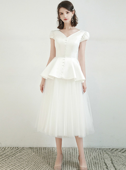 Find All Of The Latest Styles A-Line White Tulle Satin V-neck Cap Sleeve Wedding Dress