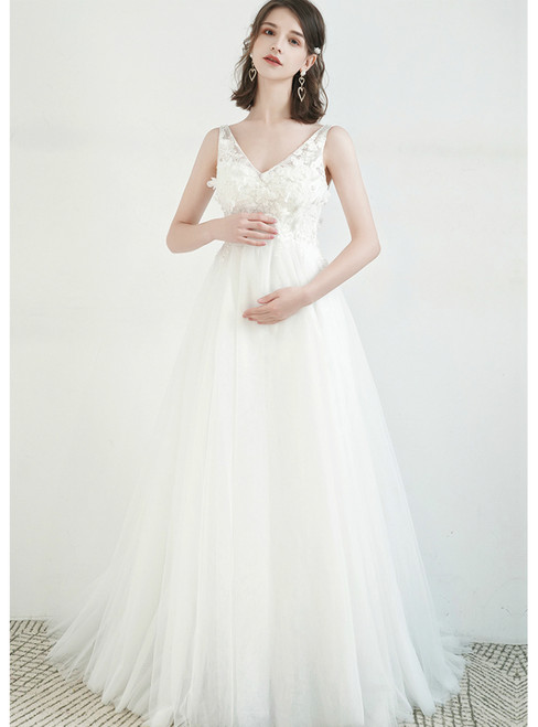 Shop Sexy White Tulle V-neck Appliques High Waist Pregnant Wedding Dress