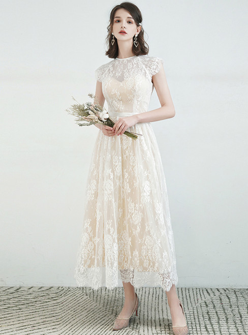 Whether You Are Looking For A-Line Champagne Lace Cap Sleeve Tea Length Wedding Dress