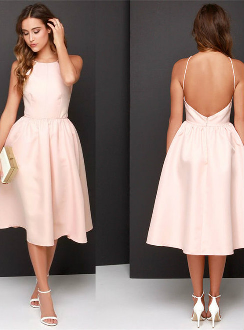 Timeless Short Pink Satin Halter Backless Homecoming Dress