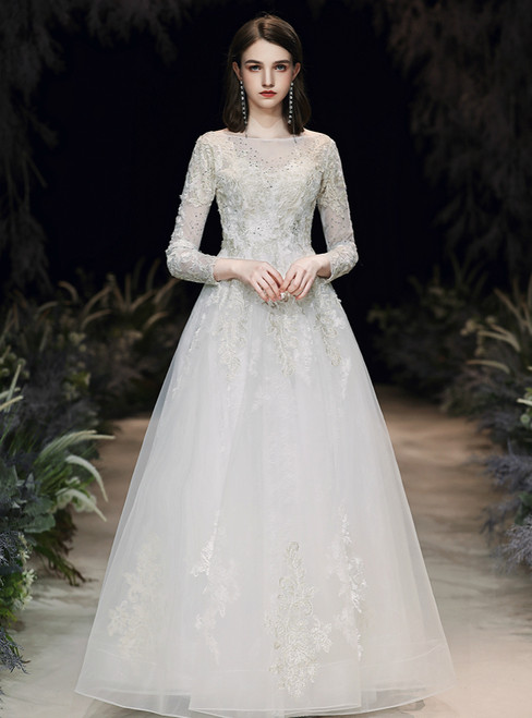 It's Prom Season A-Line White Tulle Appliques Beading Long Sleeve Wedding Dress