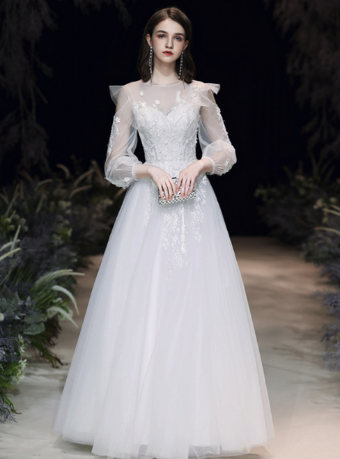 Browse Our Lovely Simple White Tulle Long Sleeve Appliques Long Wedding Dress