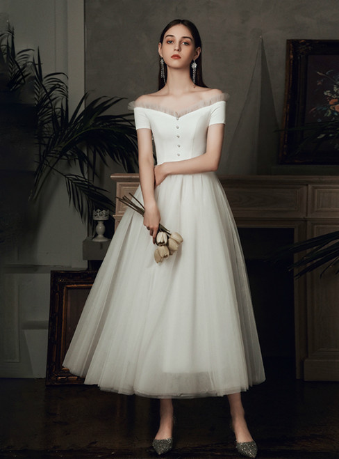 Don't Miss The Amazing & Affordable A-Line White Tulle Satin Off the Shoulder Ankle Length Wedding Dress