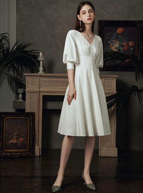 You Are Sure To Find The Perfect A-Line White Satin V-neck Short Sleeve Wedding Dress With Button