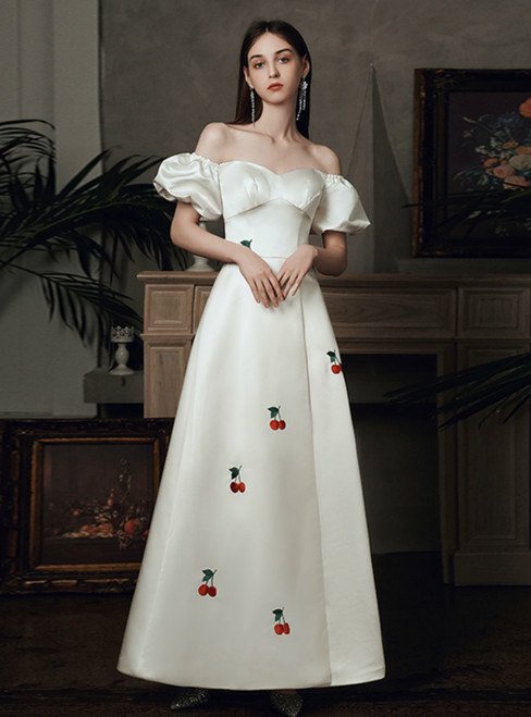The Worldwide Shipping Online Store White Satin Off the Shoulder Puff Sleeve Wedding Dress With Side Split