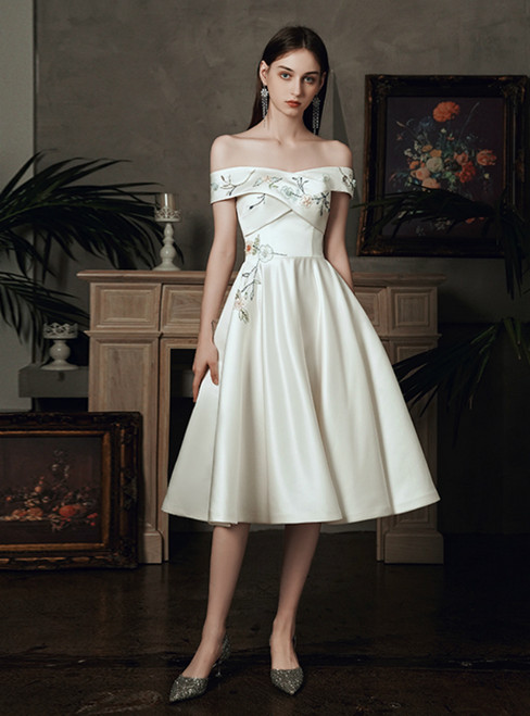 For Your Big Night A-Line White Satin Off the Shoulder Beading Embroidery Knee Length Wedding Dress