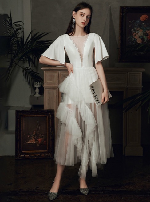 Come In All Styles And Colors A-Line White Tulle Satin Horn Sleeve Tea Length Wedding Dress